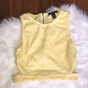 Forever 21 Daisy Lacy Cropped Top with Cut Outs